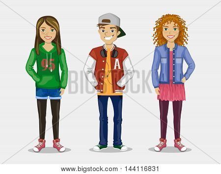 Set of images of three teenagers in stylish clothes.