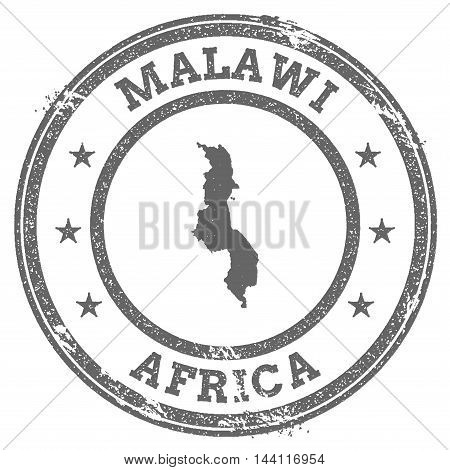Malawi Grunge Rubber Stamp Map And Text. Round Textured Country Stamp With Map Outline. Vector Illus