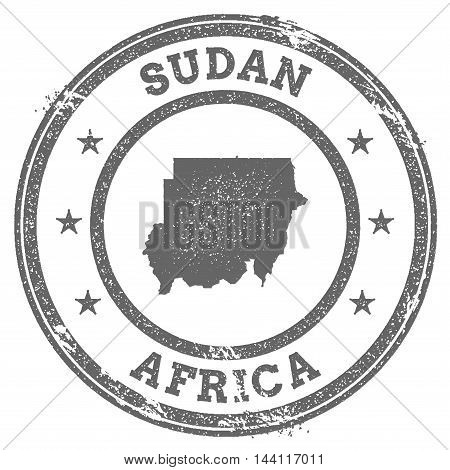 Sudan Grunge Rubber Stamp Map And Text. Round Textured Country Stamp With Map Outline. Vector Illust