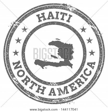 Haiti Grunge Rubber Stamp Map And Text. Round Textured Country Stamp With Map Outline. Vector Illust