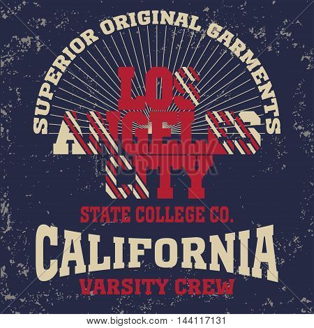 College fashion design print for t-shirt Los Angeles. California Sport Typography, vintage Vector