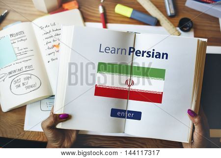 Learn Persian Language Online Education Concept