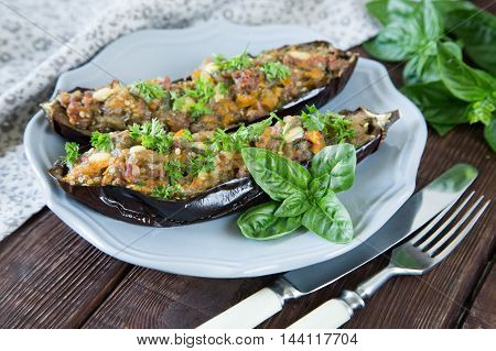 Baked Eggplant Stuffed With Vegetables, Meat And Cheese