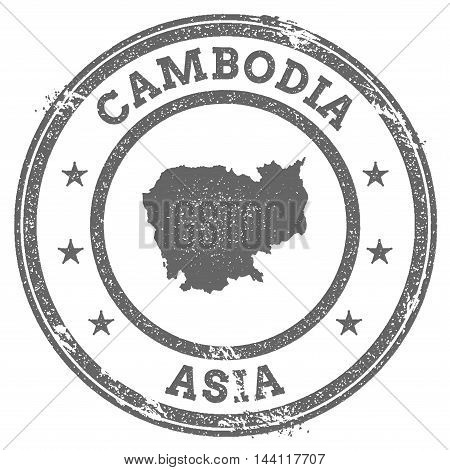 Cambodia Grunge Rubber Stamp Map And Text. Round Textured Country Stamp With Map Outline. Vector Ill