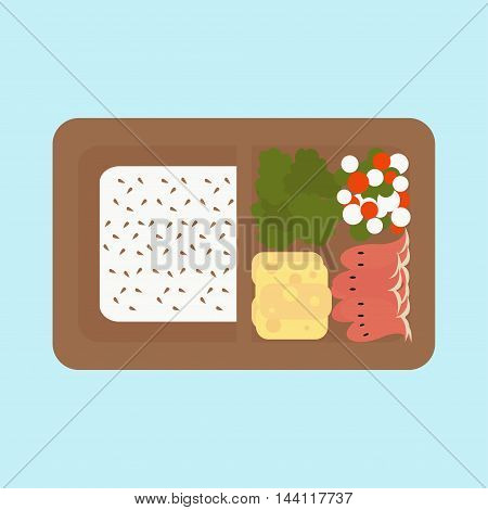 Japanese box lunch sashimi bento set - vector