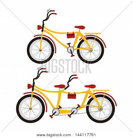 Bicycle and Tandem bicycle on white background.