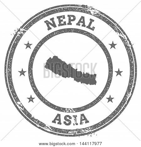 Nepal Grunge Rubber Stamp Map And Text. Round Textured Country Stamp With Map Outline. Vector Illust