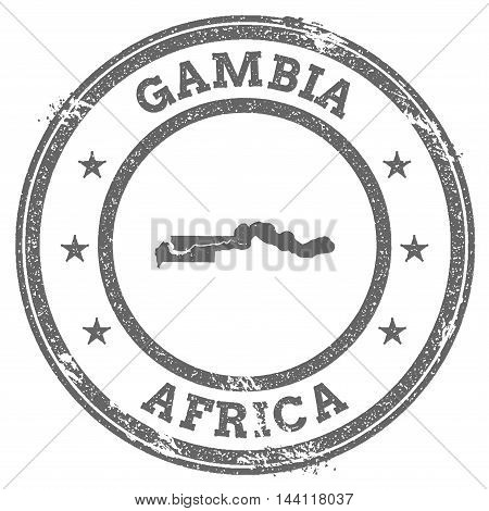 Gambia Grunge Rubber Stamp Map And Text. Round Textured Country Stamp With Map Outline. Vector Illus