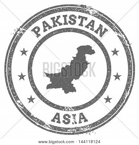 Pakistan Grunge Rubber Stamp Map And Text. Round Textured Country Stamp With Map Outline. Vector Ill