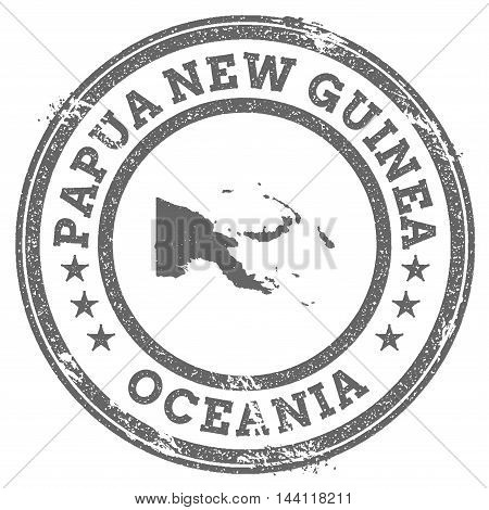 Papua New Guinea Grunge Rubber Stamp Map And Text. Round Textured Country Stamp With Map Outline. Ve