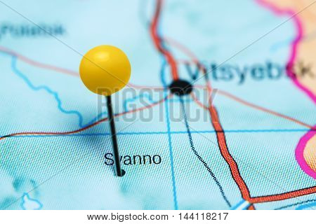 Syanno pinned on a map of Belarus