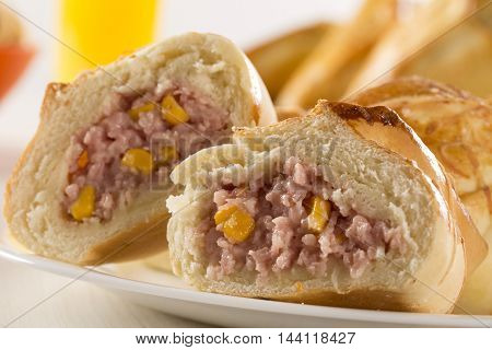 Brazilian Snack Fried With Cheese Ham On Wooden Background.