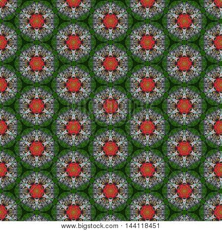 Beautiful tileable seamless repeat pattern of butterfly on flower kalidoscope image