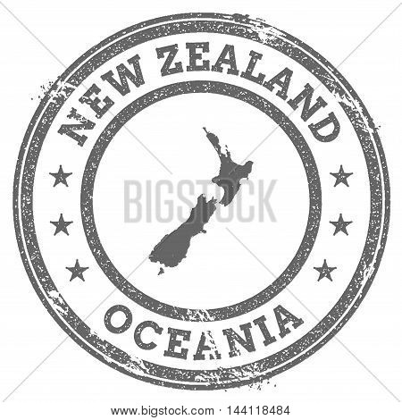New Zealand Grunge Rubber Stamp Map And Text. Round Textured Country Stamp With Map Outline. Vector