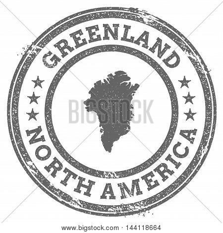 Greenland Grunge Rubber Stamp Map And Text. Round Textured Country Stamp With Map Outline. Vector Il