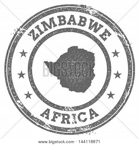 Zimbabwe Grunge Rubber Stamp Map And Text. Round Textured Country Stamp With Map Outline. Vector Ill