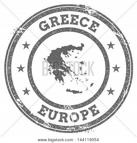 Greece Grunge Rubber Stamp Map And Text. Round Textured Country Stamp With Map Outline. Vector Illus