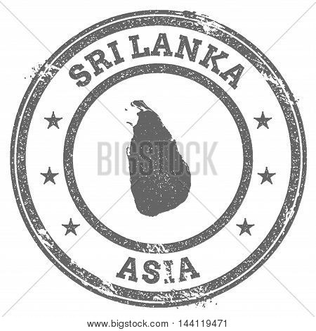 Sri Lanka Grunge Rubber Stamp Map And Text. Round Textured Country Stamp With Map Outline. Vector Il