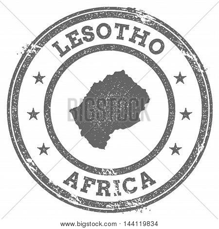 Lesotho Grunge Rubber Stamp Map And Text. Round Textured Country Stamp With Map Outline. Vector Illu