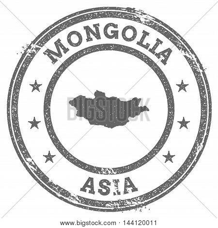 Mongolia Grunge Rubber Stamp Map And Text. Round Textured Country Stamp With Map Outline. Vector Ill
