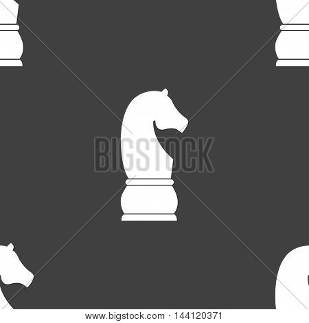 Chess Knight Icon. Sign. Seamless Pattern On A Gray Background. Vector