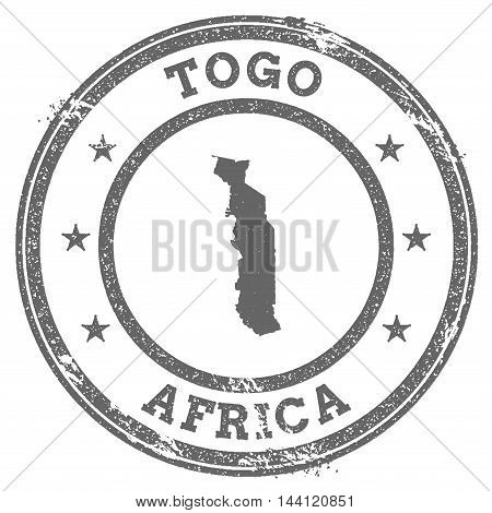 Togo Grunge Rubber Stamp Map And Text. Round Textured Country Stamp With Map Outline. Vector Illustr