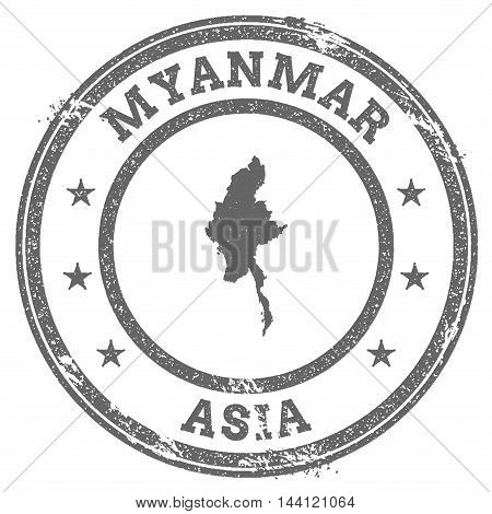 Myanmar Grunge Rubber Stamp Map And Text. Round Textured Country Stamp With Map Outline. Vector Illu