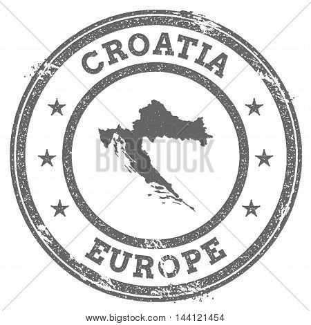 Croatia Grunge Rubber Stamp Map And Text. Round Textured Country Stamp With Map Outline. Vector Illu