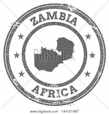 Zambia Grunge Rubber Stamp Map And Text. Round Textured Country Stamp With Map Outline. Vector Illus