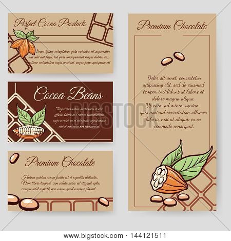 Cocoa beans and chocolate beans flyer and personal cards set. Vector illustration