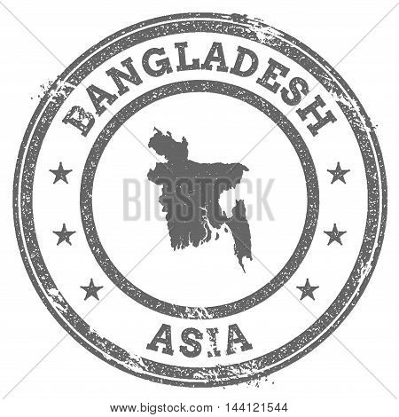 Bangladesh Grunge Rubber Stamp Map And Text. Round Textured Country Stamp With Map Outline. Vector I