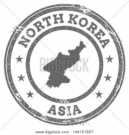 Korea, Democratic People's Republic Of Grunge Rubber Stamp Map And Text. Round Textured Country Stam