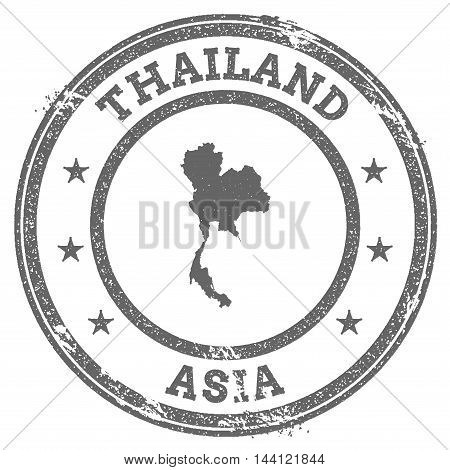 Thailand Grunge Rubber Stamp Map And Text. Round Textured Country Stamp With Map Outline. Vector Ill