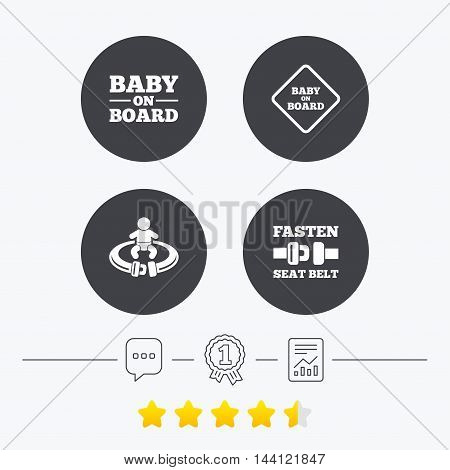 Baby on board icons. Infant caution signs. Fasten seat belt symbol. Chat, award medal and report linear icons. Star vote ranking. Vector