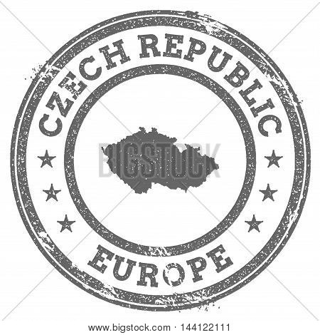 Czech Republic Grunge Rubber Stamp Map And Text. Round Textured Country Stamp With Map Outline. Vect