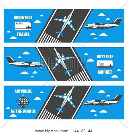flat banners airport in vector format eps10
