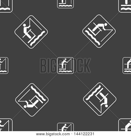Fishing Sign. Seamless Pattern On A Gray Background. Vector