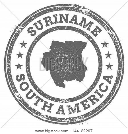 Suriname Grunge Rubber Stamp Map And Text. Round Textured Country Stamp With Map Outline. Vector Ill