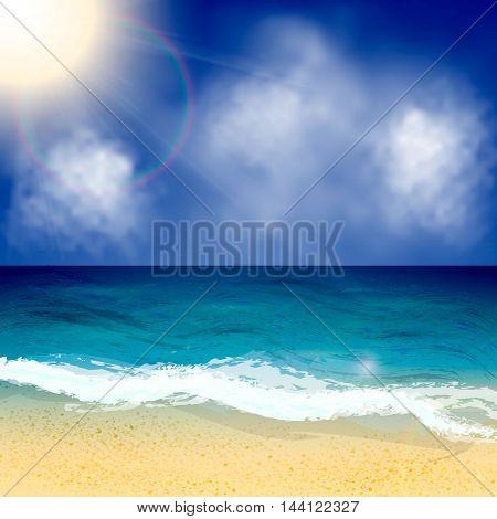 Summer beach vector background. Seascape vector illustration