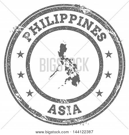 Philippines Grunge Rubber Stamp Map And Text. Round Textured Country Stamp With Map Outline. Vector