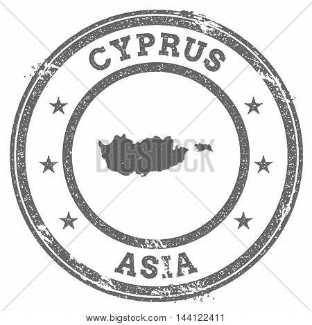Cyprus Grunge Rubber Stamp Map And Text. Round Textured Country Stamp With Map Outline. Vector Illus