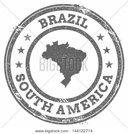 Brazil Grunge Rubber Stamp Map And Text. Round Textured Country Stamp With Map Outline. Vector Illus