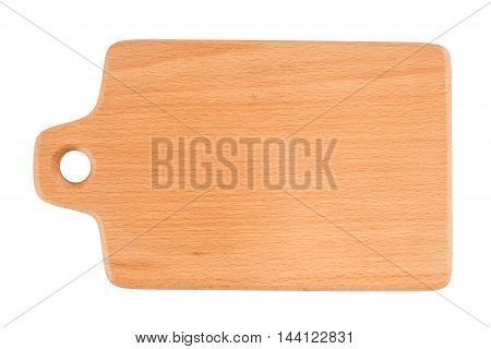 Cutting board isolated on white background. Top view.