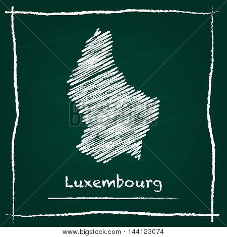 Luxembourg Outline Vector Map Hand Drawn With Chalk On A Green Blackboard. Chalkboard Scribble In Ch