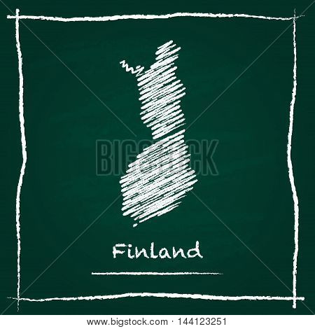 Finland Outline Vector Map Hand Drawn With Chalk On A Green Blackboard. Chalkboard Scribble In Child