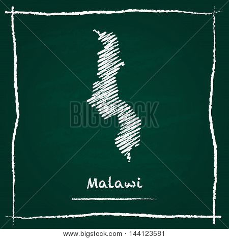 Malawi Outline Vector Map Hand Drawn With Chalk On A Green Blackboard. Chalkboard Scribble In Childi
