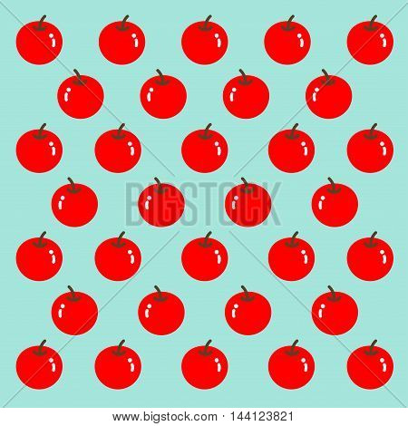Red apples are set as a pattern on the pale blue background.