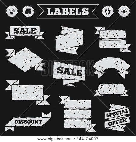 Stickers, tags and banners with grunge. Beach holidays icons. Cocktail, human footprints and swimming trunks signs. Summer sun symbol. Sale or discount labels. Vector