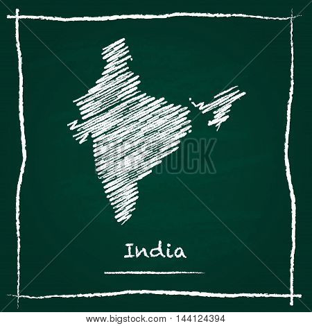 India Outline Vector Map Hand Drawn With Chalk On A Green Blackboard. Chalkboard Scribble In Childis