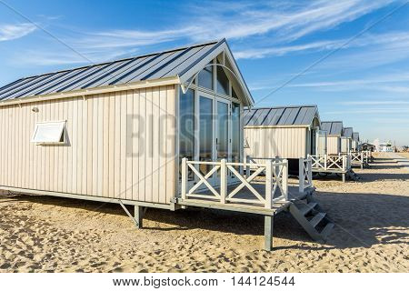 Kijkduin beach the Netherlands - August 25 2016: holiday beach huts